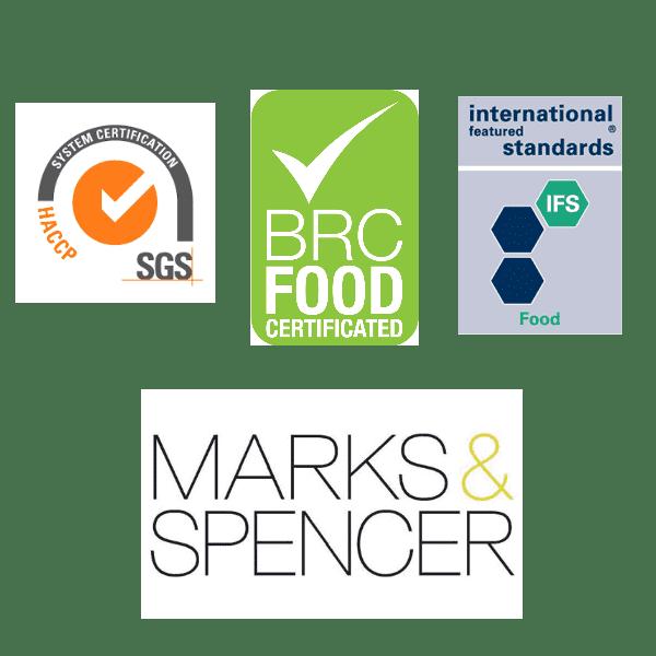 Certificazioni HACCP - BRC FOOD - IFS - Marks & Spencer