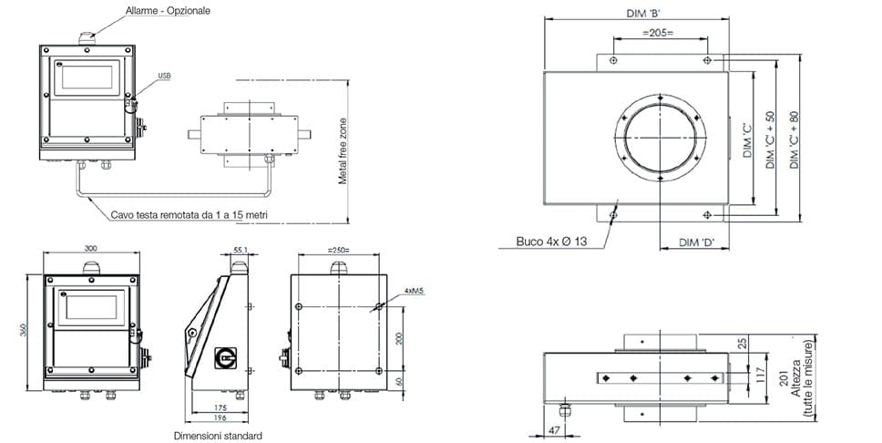 Sistema Metal Detector Loma Iq4 Waferthin - Dimensioni