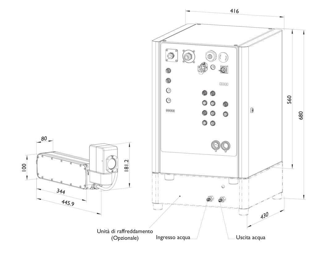 marcatore laser a fibra domino f520i disegno tecnico